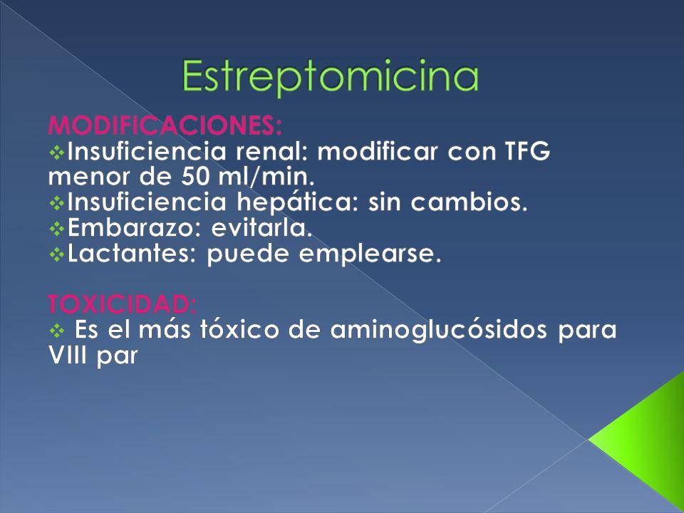 Estreptomicina MODIFICACIONES: