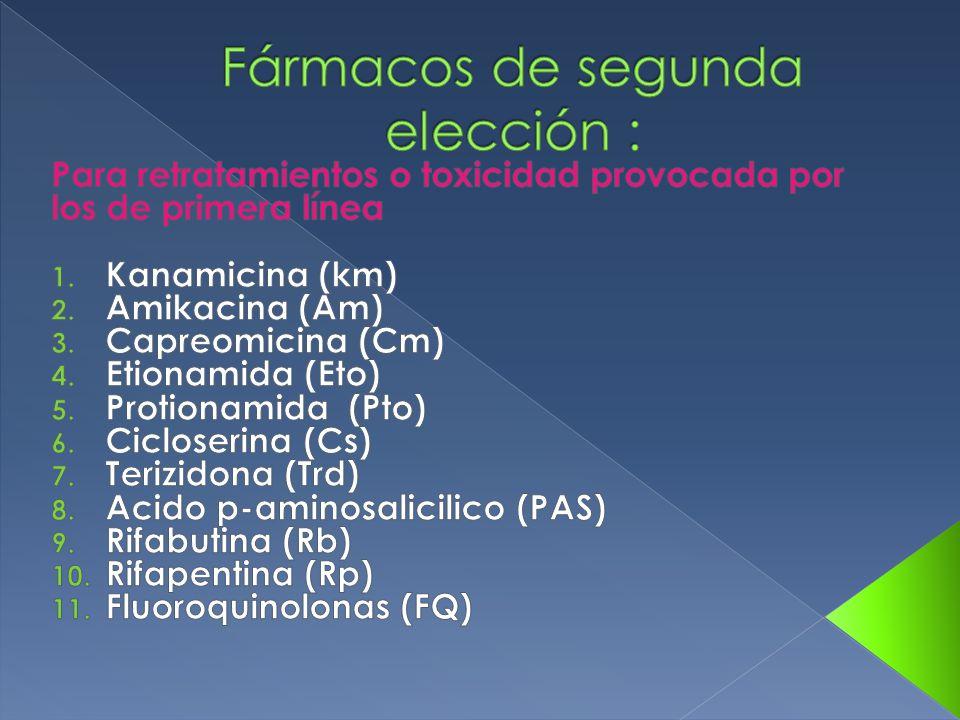 Fármacos de segunda elección :