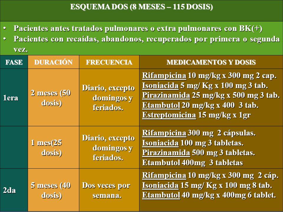 ESQUEMA DOS (8 MESES – 115 DOSIS)