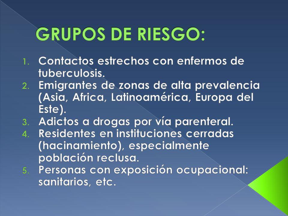 GRUPOS DE RIESGO: Contactos estrechos con enfermos de tuberculosis.