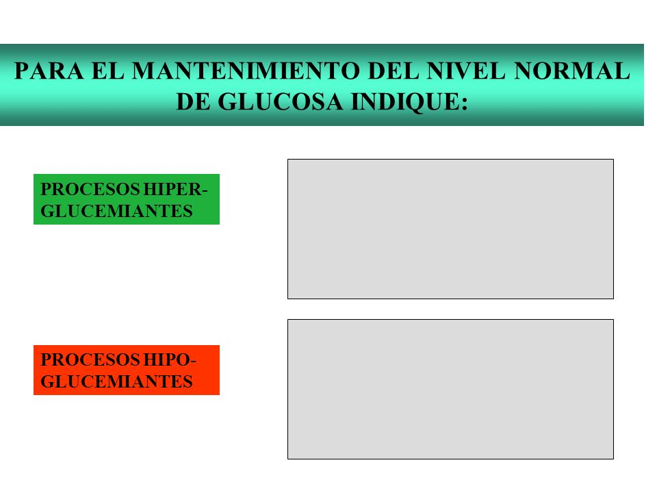 PARA EL MANTENIMIENTO DEL NIVEL NORMAL DE GLUCOSA INDIQUE: