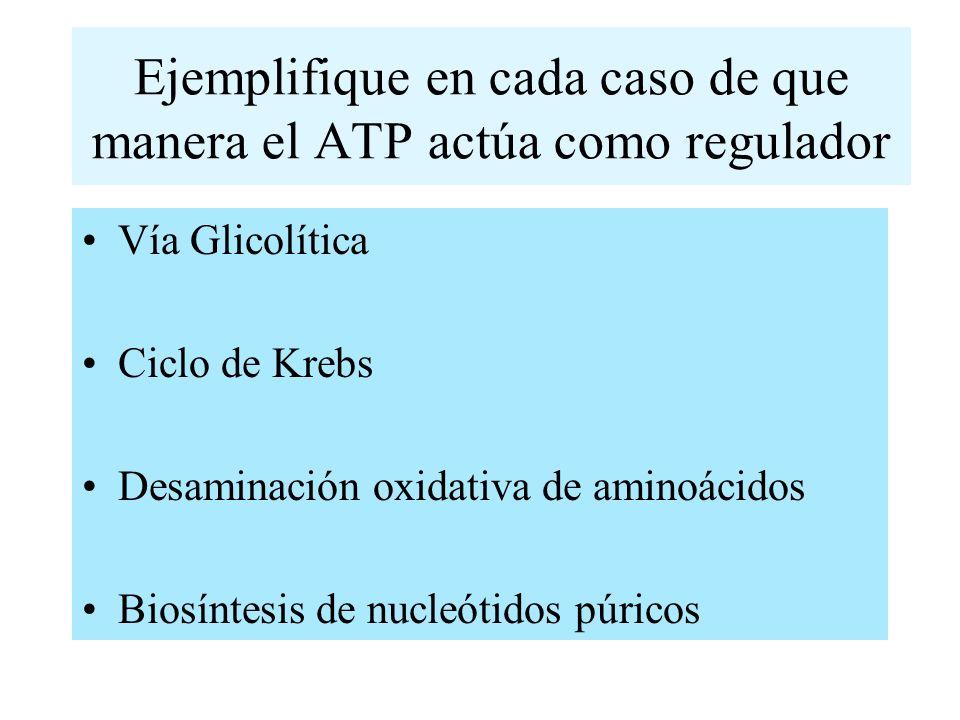 Ejemplifique en cada caso de que manera el ATP actúa como regulador