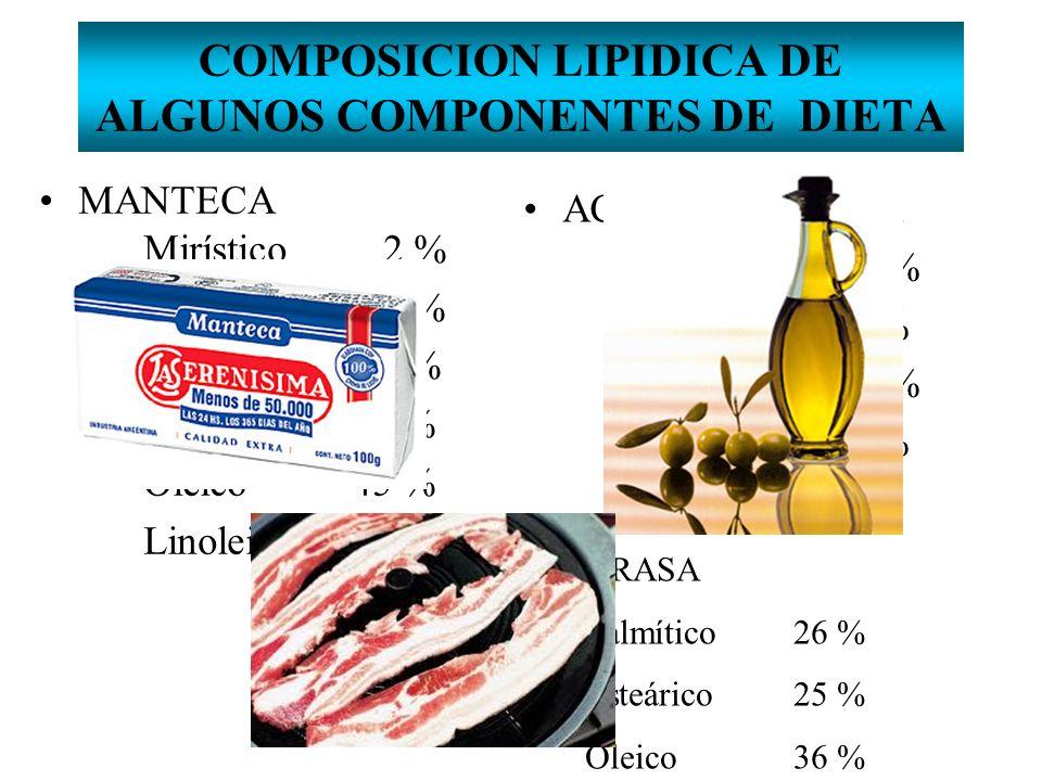 COMPOSICION LIPIDICA DE ALGUNOS COMPONENTES DE DIETA