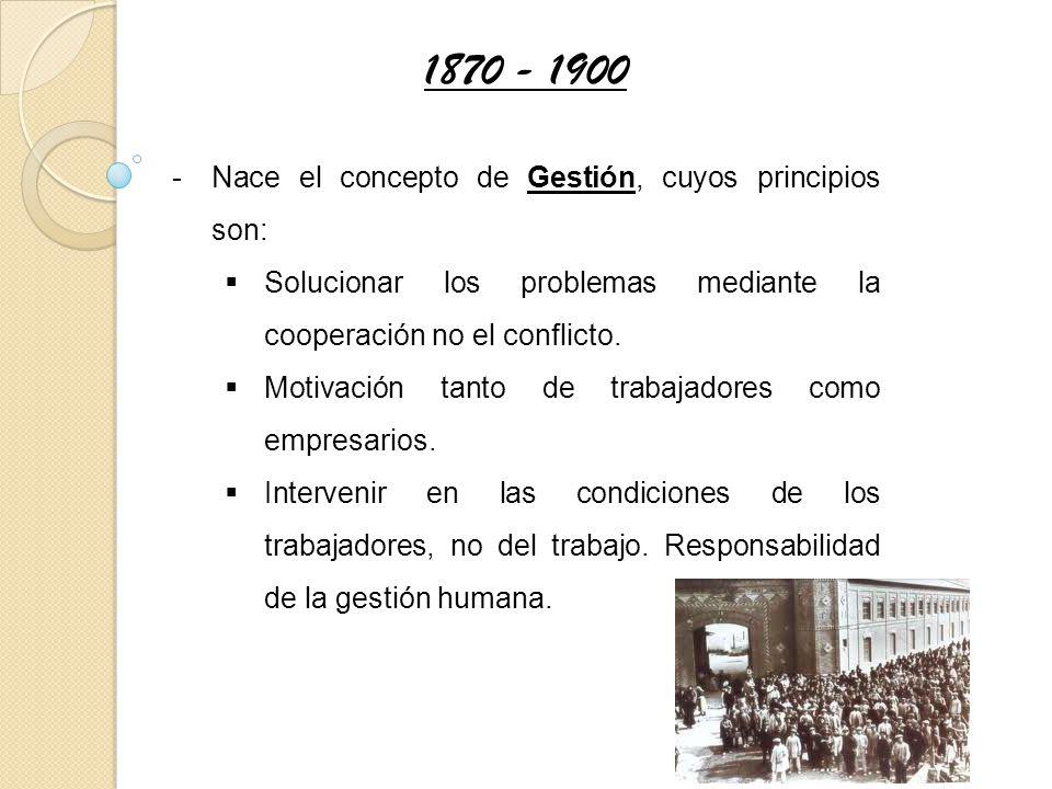 1870 - 1900 Nace el concepto de Gestión, cuyos principios son: