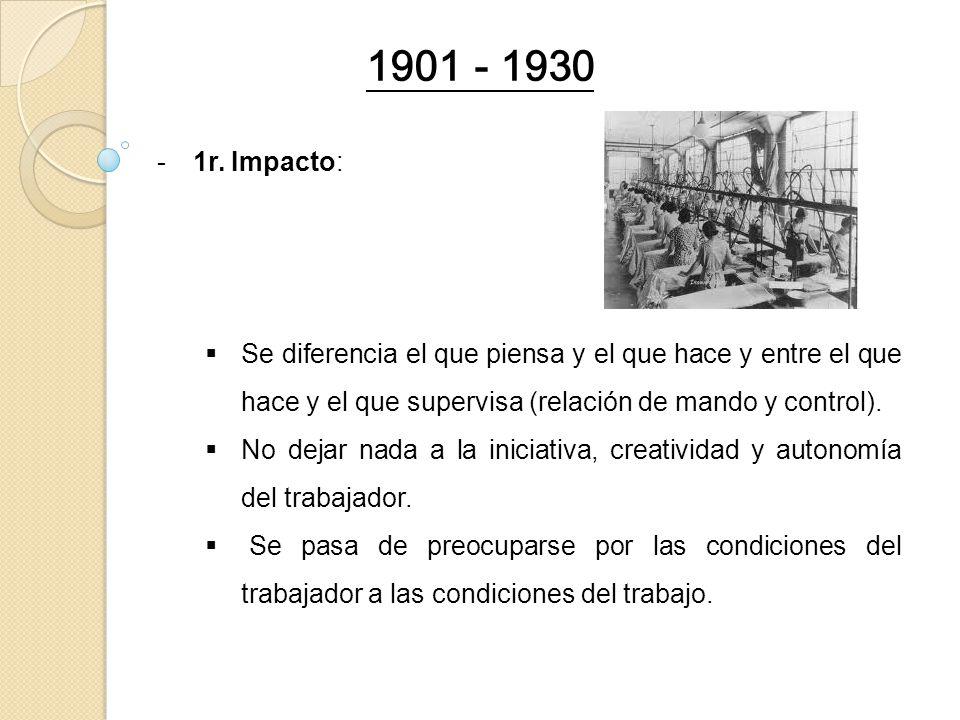 1901 - 1930 1r. Impacto: Se diferencia el que piensa y el que hace y entre el que hace y el que supervisa (relación de mando y control).