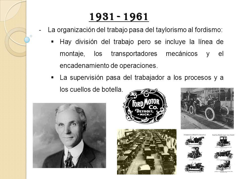 1931 - 1961 La organización del trabajo pasa del taylorismo al fordismo: