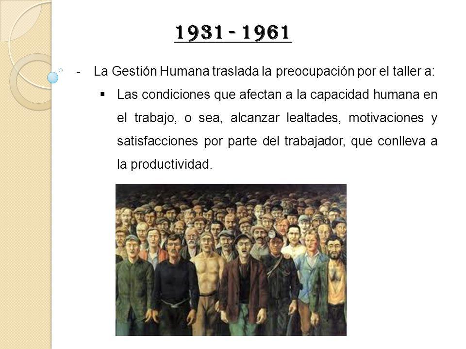 1931 - 1961 La Gestión Humana traslada la preocupación por el taller a: