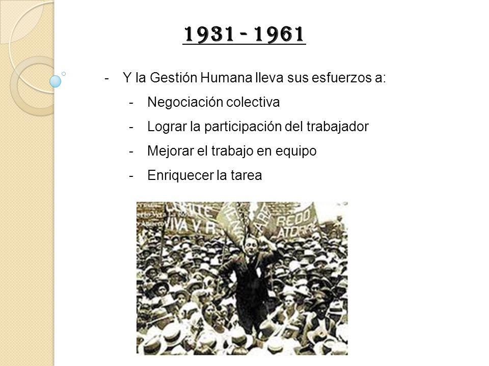 1931 - 1961 Y la Gestión Humana lleva sus esfuerzos a: