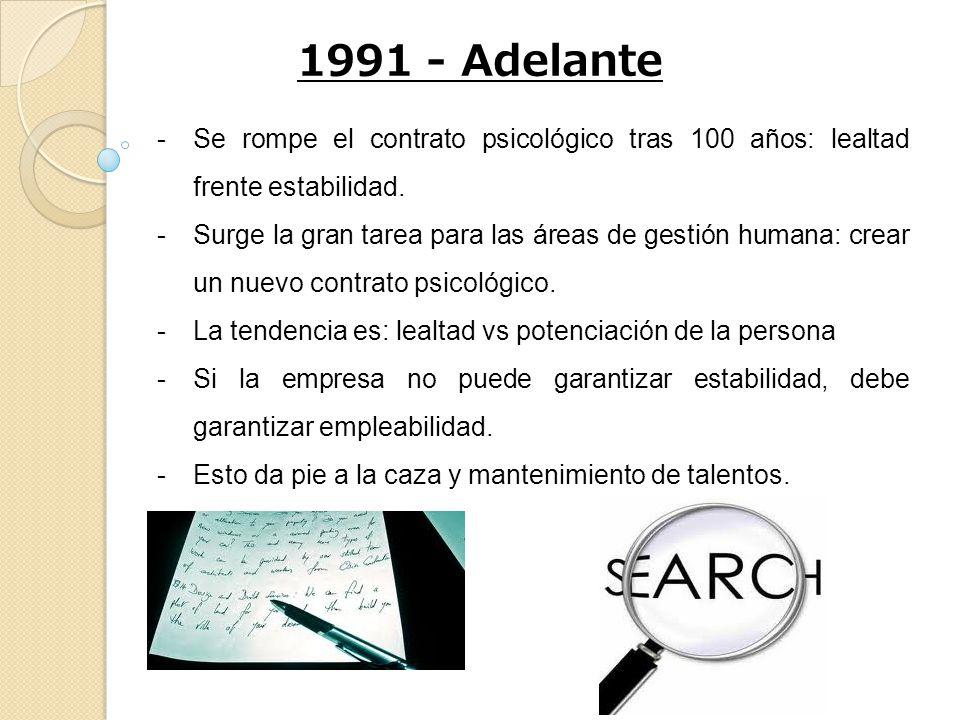 1991 - Adelante Se rompe el contrato psicológico tras 100 años: lealtad frente estabilidad.