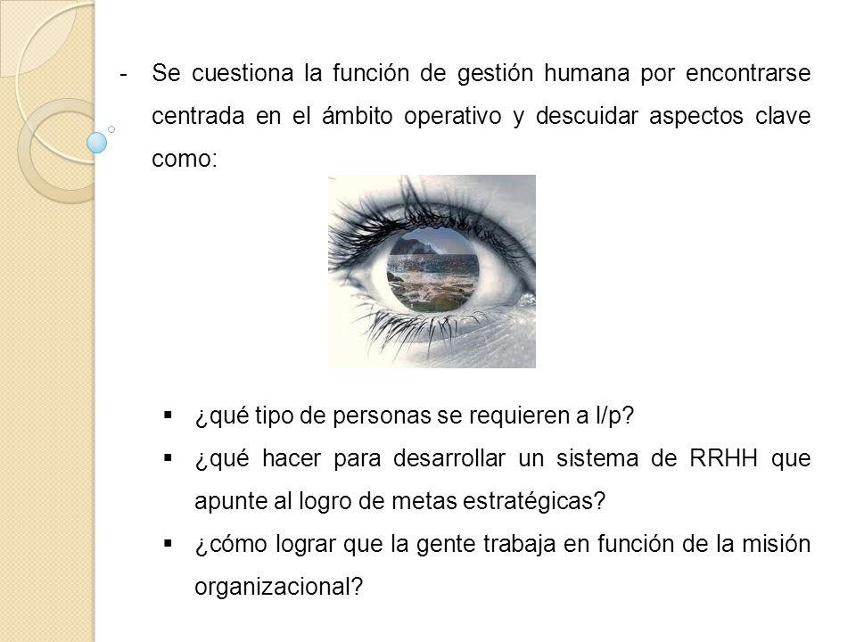 Se cuestiona la función de gestión humana por encontrarse centrada en el ámbito operativo y descuidar aspectos clave como: