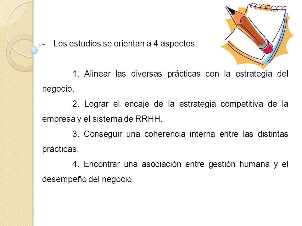 Los estudios se orientan a 4 aspectos: