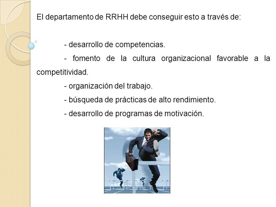 El departamento de RRHH debe conseguir esto a través de: