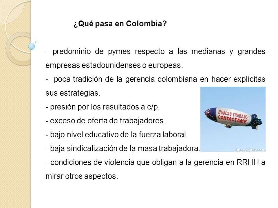 ¿Qué pasa en Colombia - predominio de pymes respecto a las medianas y grandes empresas estadounidenses o europeas.