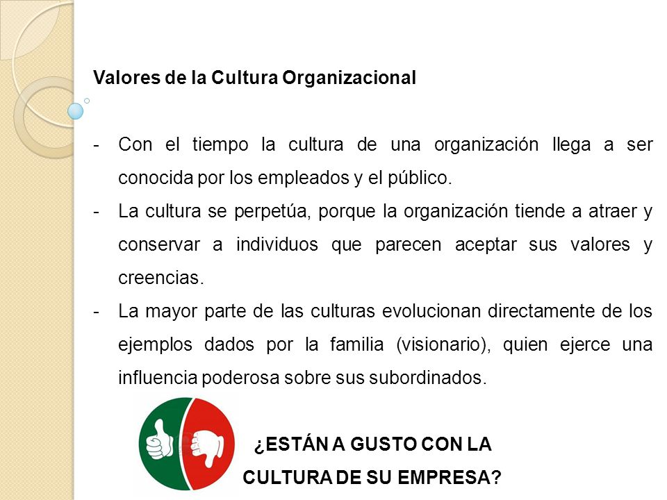 Valores de la Cultura Organizacional