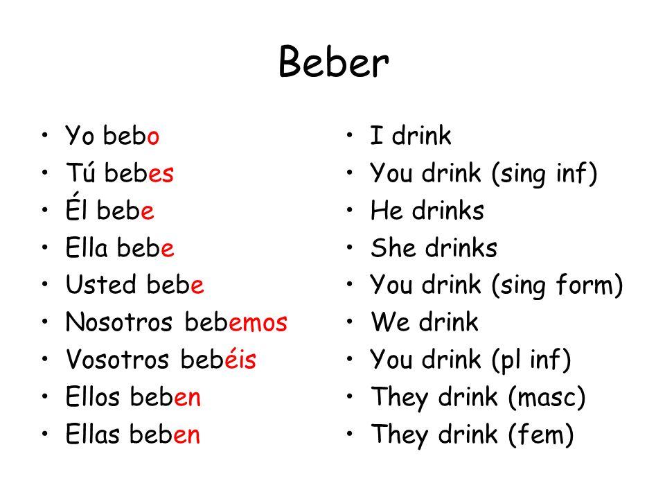 Beber Yo bebo Tú bebes Él bebe Ella bebe Usted bebe Nosotros bebemos