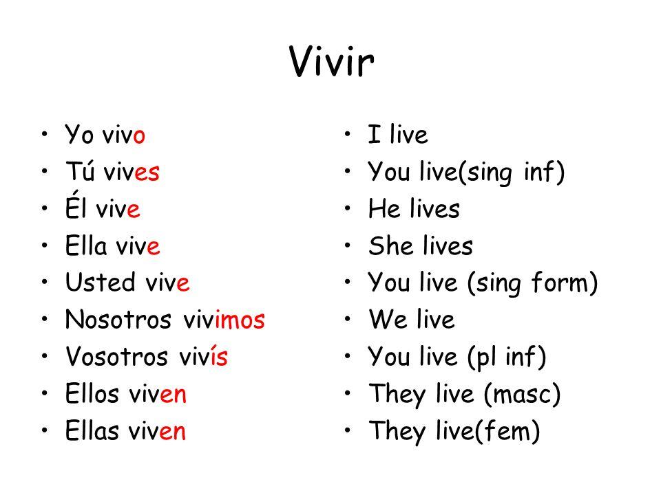 Vivir Yo vivo Tú vives Él vive Ella vive Usted vive Nosotros vivimos
