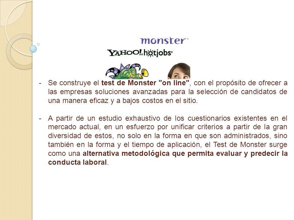 Se construye el test de Monster on line , con el propósito de ofrecer a las empresas soluciones avanzadas para la selección de candidatos de una manera eficaz y a bajos costos en el sitio.