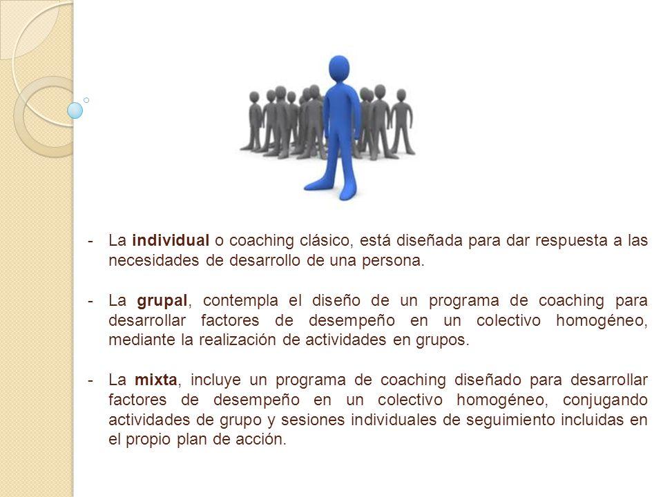 La individual o coaching clásico, está diseñada para dar respuesta a las necesidades de desarrollo de una persona.