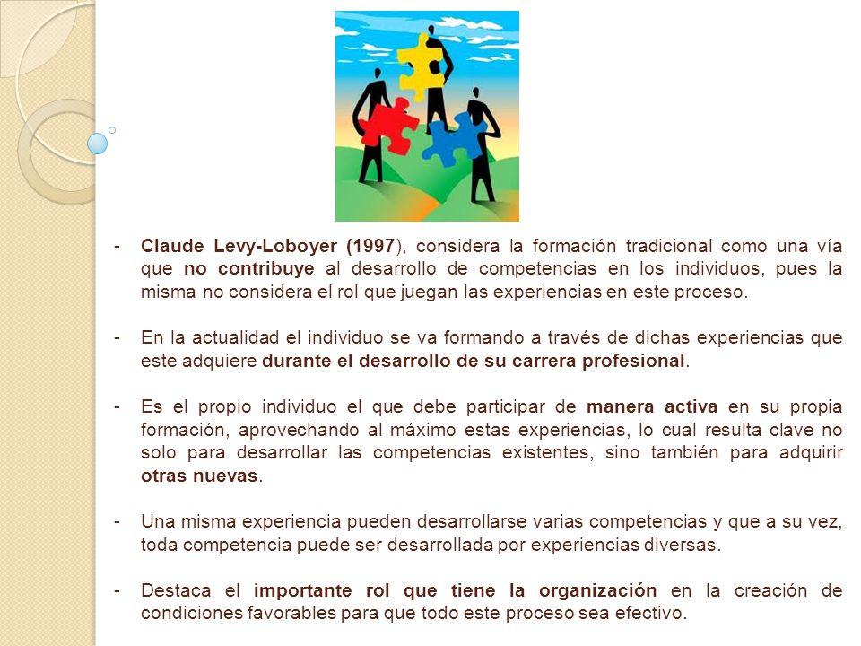 Claude Levy-Loboyer (1997), considera la formación tradicional como una vía que no contribuye al desarrollo de competencias en los individuos, pues la misma no considera el rol que juegan las experiencias en este proceso.