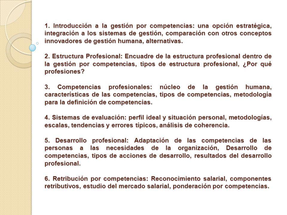 1. Introducción a la gestión por competencias: una opción estratégica, integración a los sistemas de gestión, comparación con otros conceptos innovadores de gestión humana, alternativas.