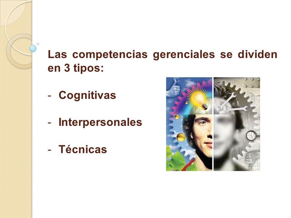 Las competencias gerenciales se dividen en 3 tipos: