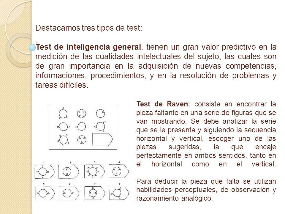 Destacamos tres tipos de test: