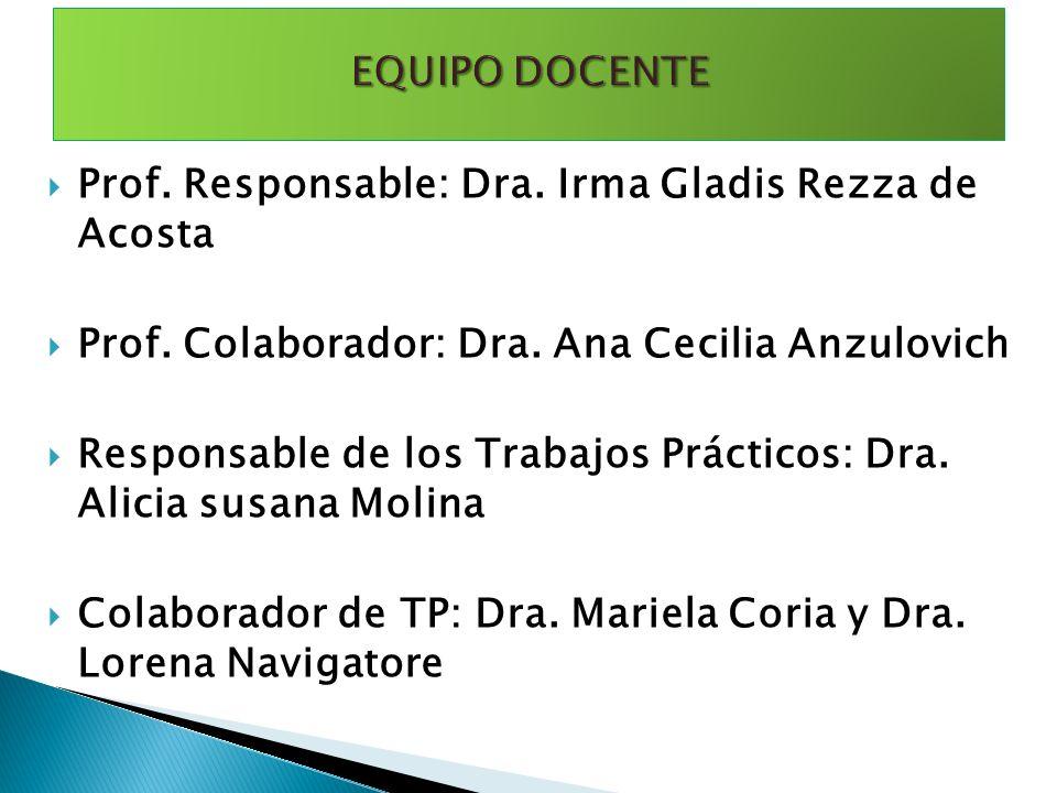 EQUIPO DOCENTE Prof. Responsable: Dra. Irma Gladis Rezza de Acosta. Prof. Colaborador: Dra. Ana Cecilia Anzulovich.