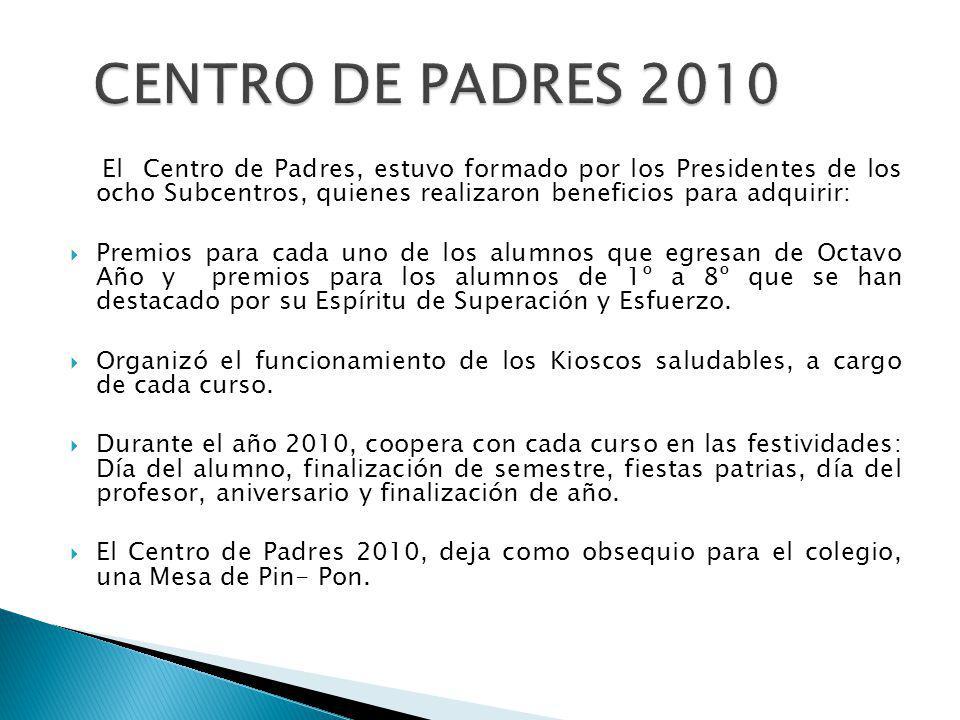 CENTRO DE PADRES 2010 El Centro de Padres, estuvo formado por los Presidentes de los ocho Subcentros, quienes realizaron beneficios para adquirir: