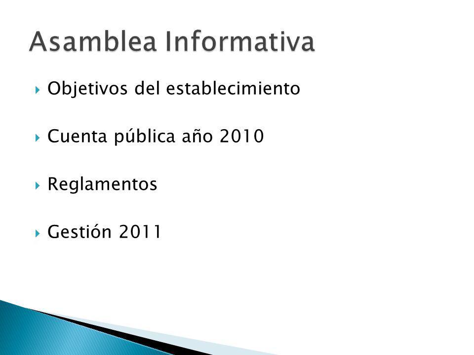 Asamblea Informativa Objetivos del establecimiento