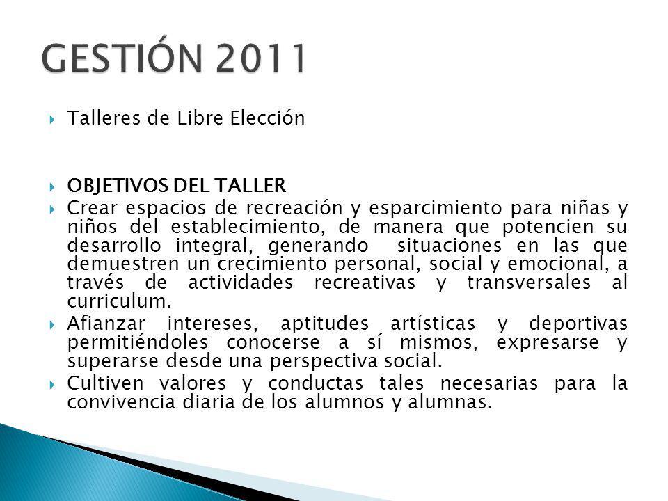 GESTIÓN 2011 Talleres de Libre Elección OBJETIVOS DEL TALLER