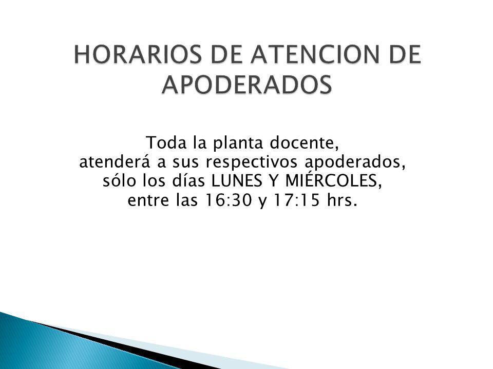 HORARIOS DE ATENCION DE APODERADOS