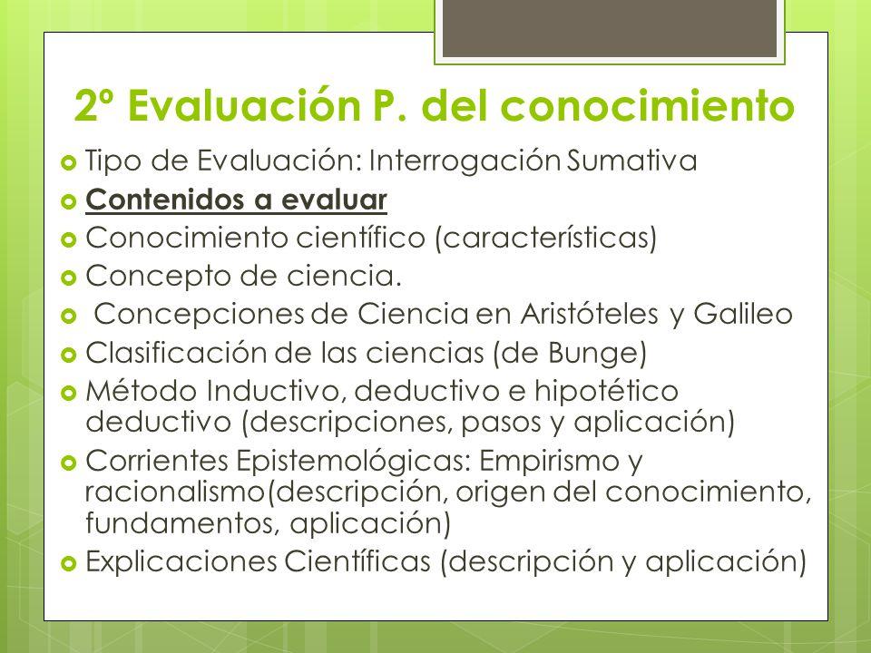 2º Evaluación P. del conocimiento