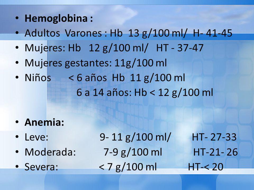 Hemoglobina : Adultos Varones : Hb 13 g/100 ml/ H- 41-45. Mujeres: Hb 12 g/100 ml/ HT - 37-47.