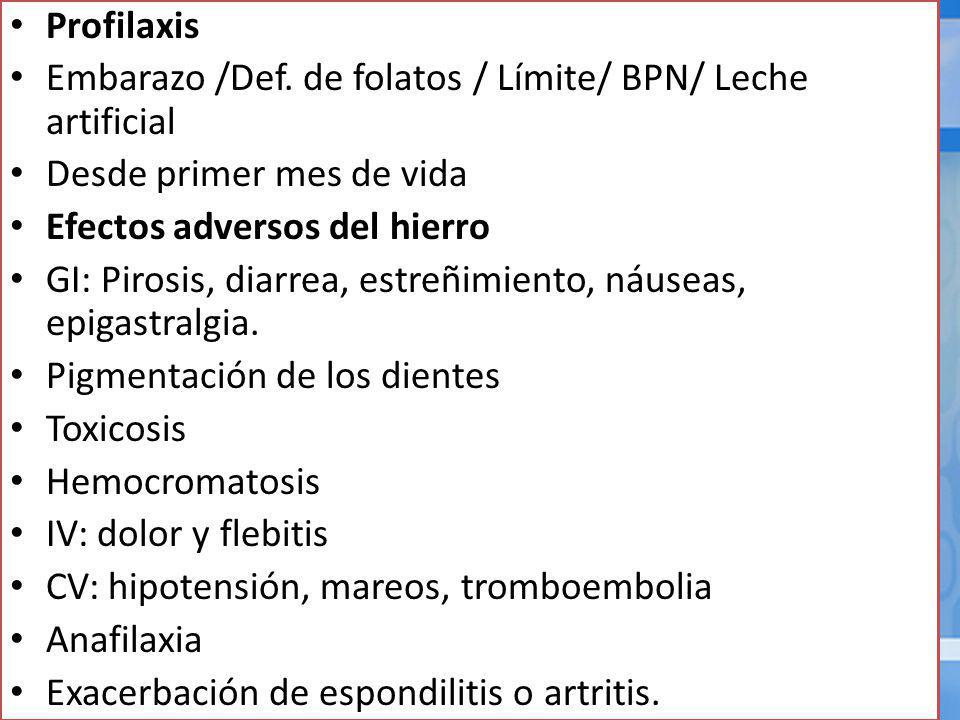Profilaxis Embarazo /Def. de folatos / Límite/ BPN/ Leche artificial. Desde primer mes de vida. Efectos adversos del hierro.