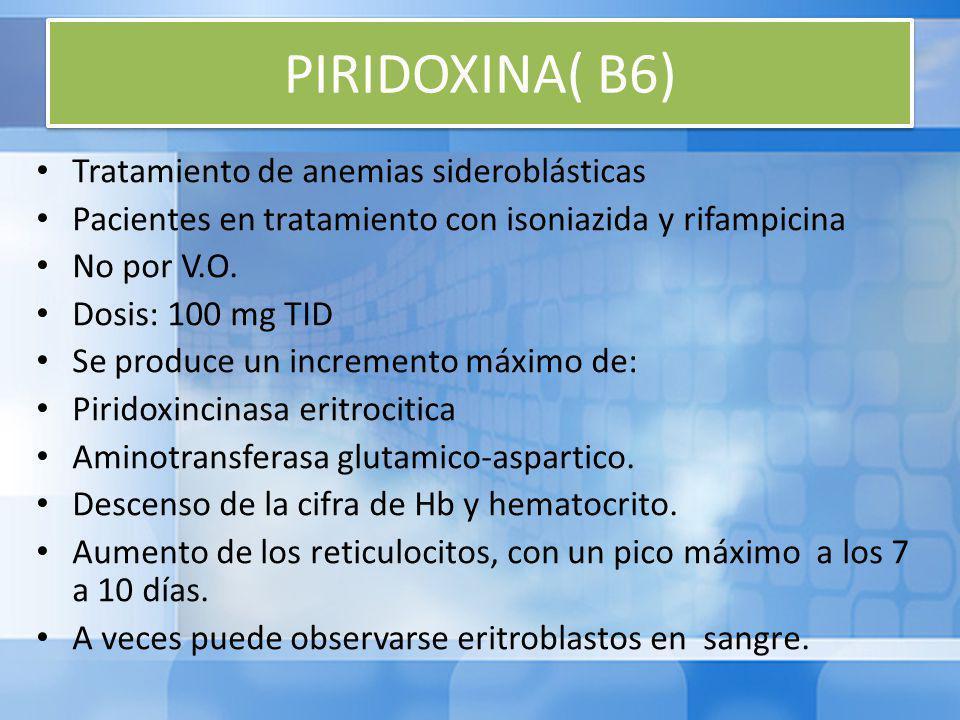 PIRIDOXINA( B6) Tratamiento de anemias sideroblásticas