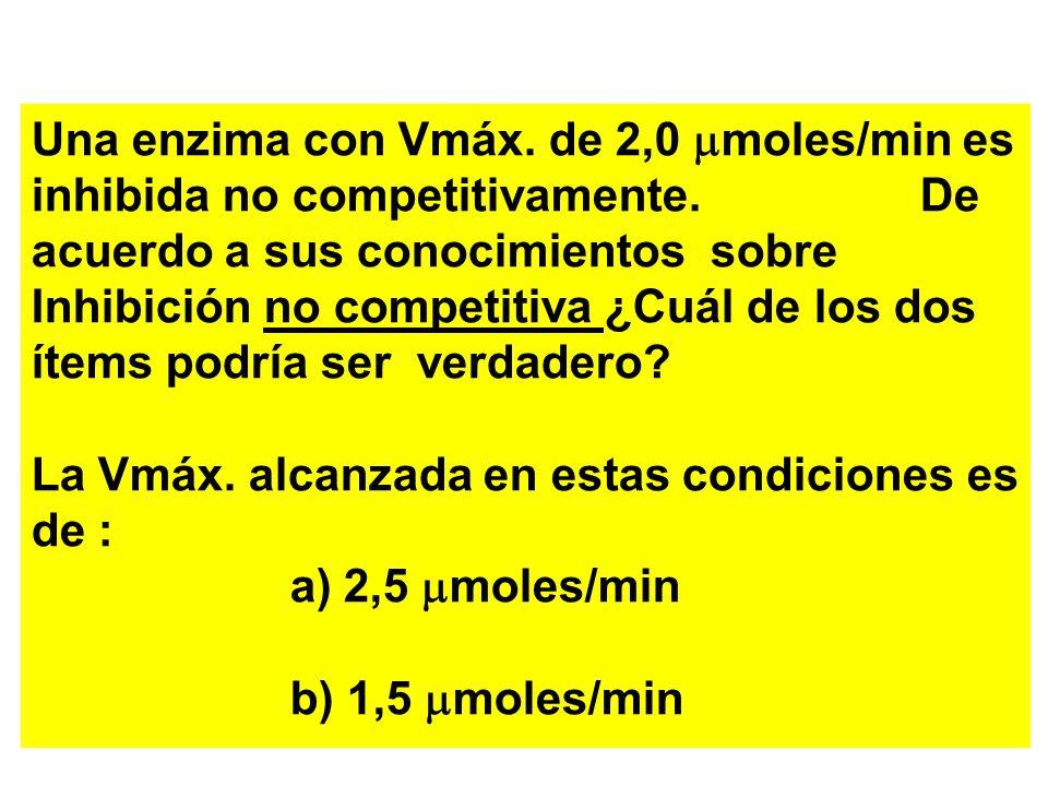 Una enzima con Vmáx. de 2,0 mmoles/min es inhibida no competitivamente
