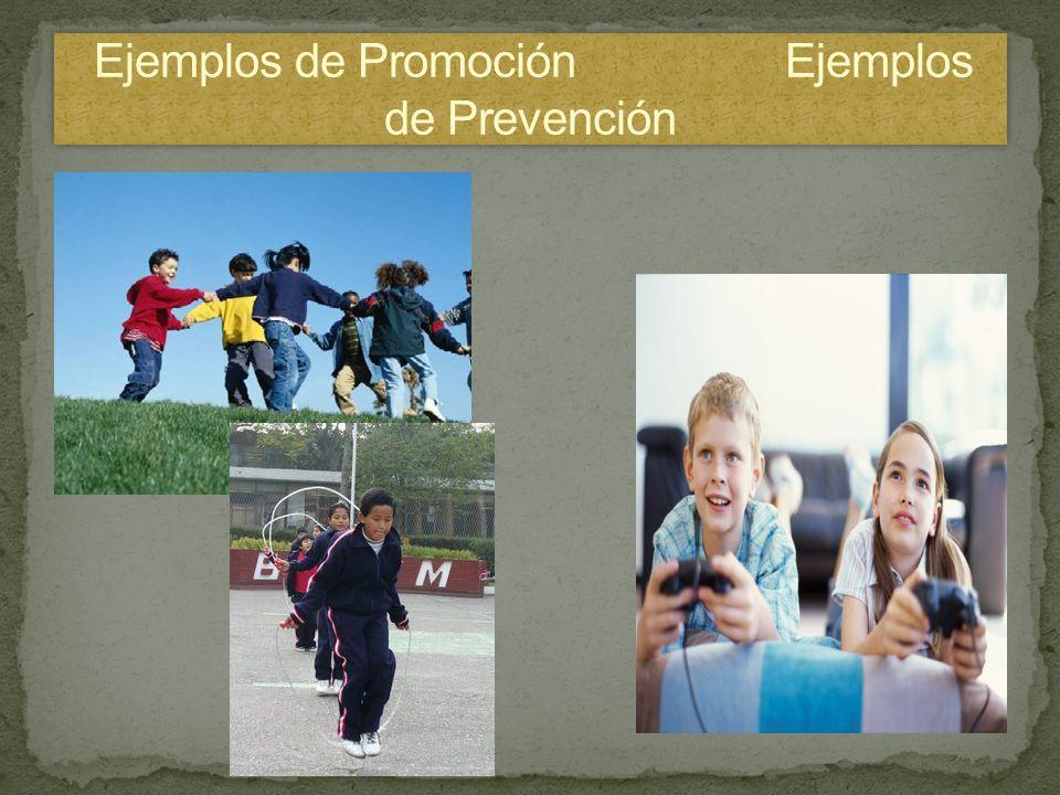 Ejemplos de Promoción Ejemplos de Prevención