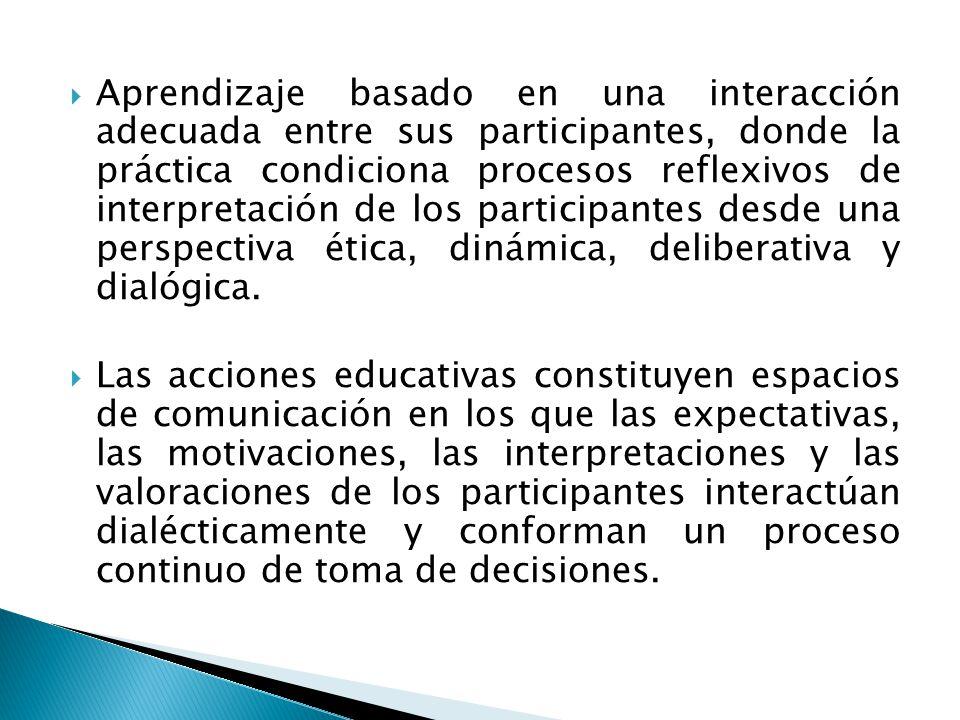 Aprendizaje basado en una interacción adecuada entre sus participantes, donde la práctica condiciona procesos reflexivos de interpretación de los participantes desde una perspectiva ética, dinámica, deliberativa y dialógica.