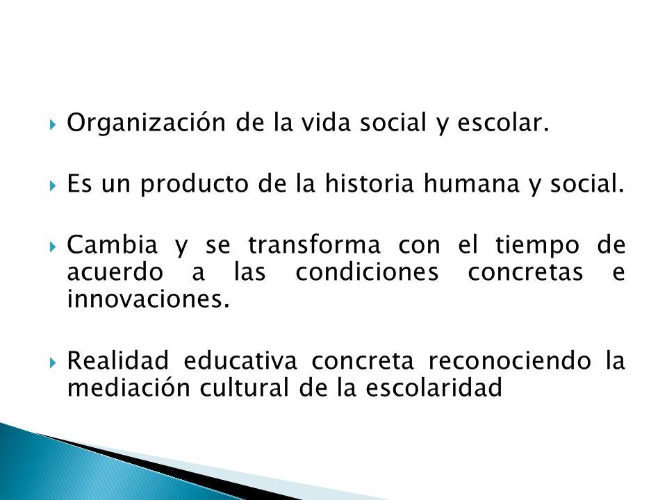 Organización de la vida social y escolar.