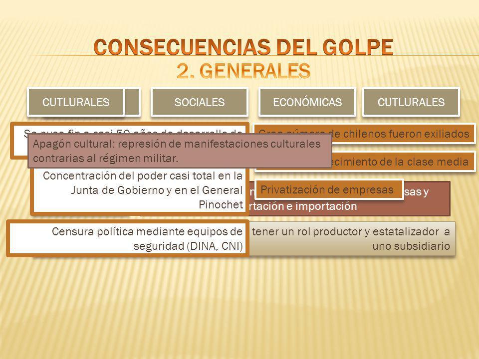CONSECUENCIAS DEL GOLPE