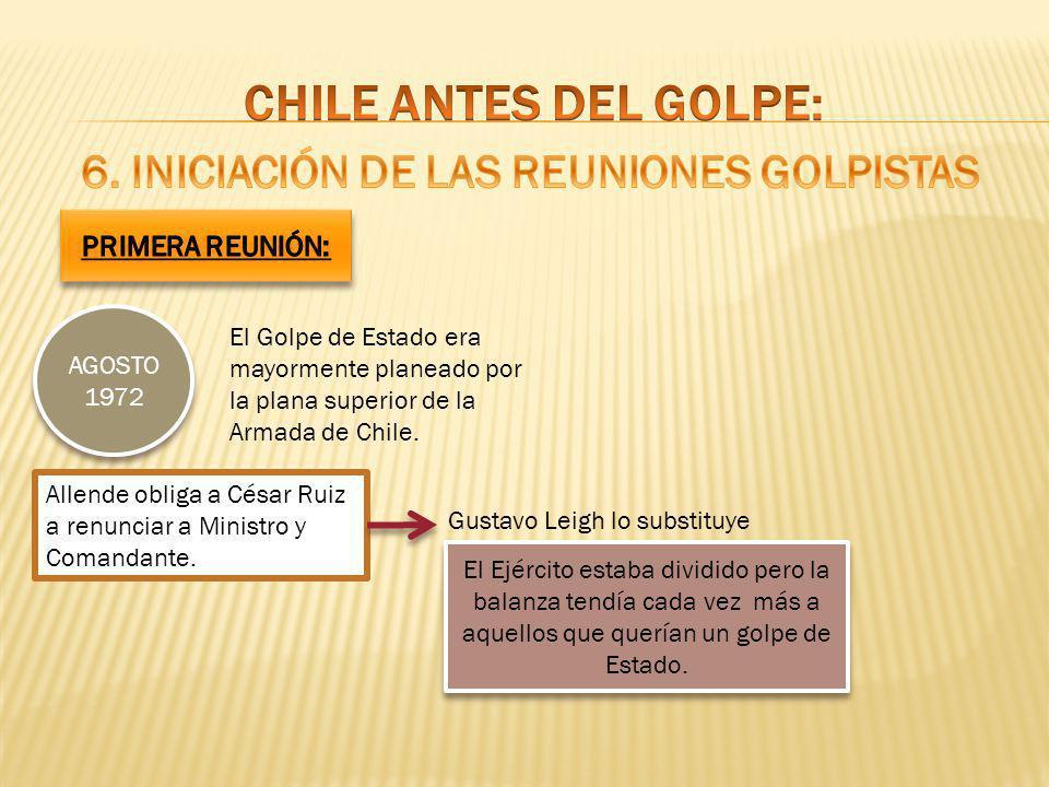 CHILE ANTES DEL GOLPE: 6. Iniciación de las reuniones golpistas