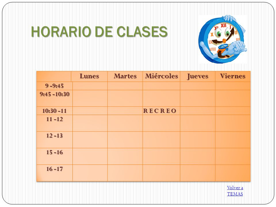 HORARIO DE CLASES Lunes Martes Miércoles Jueves Viernes 9 -9:45