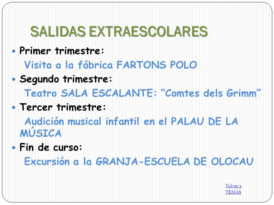 SALIDAS EXTRAESCOLARES