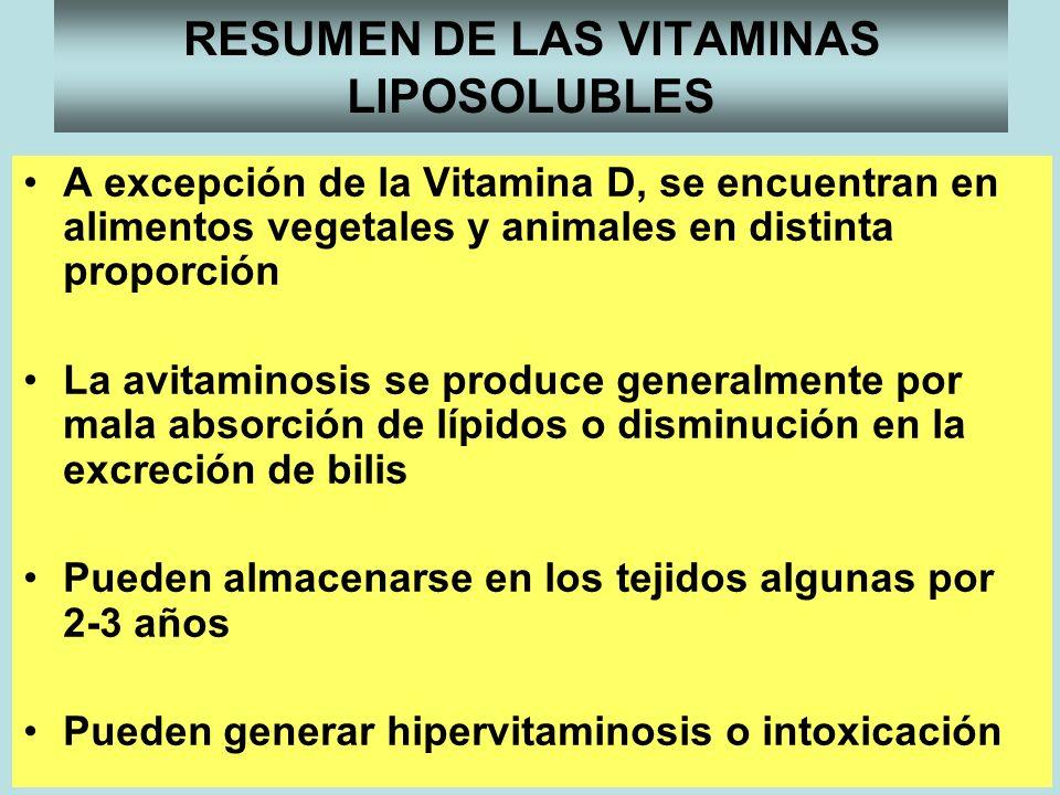 RESUMEN DE LAS VITAMINAS LIPOSOLUBLES