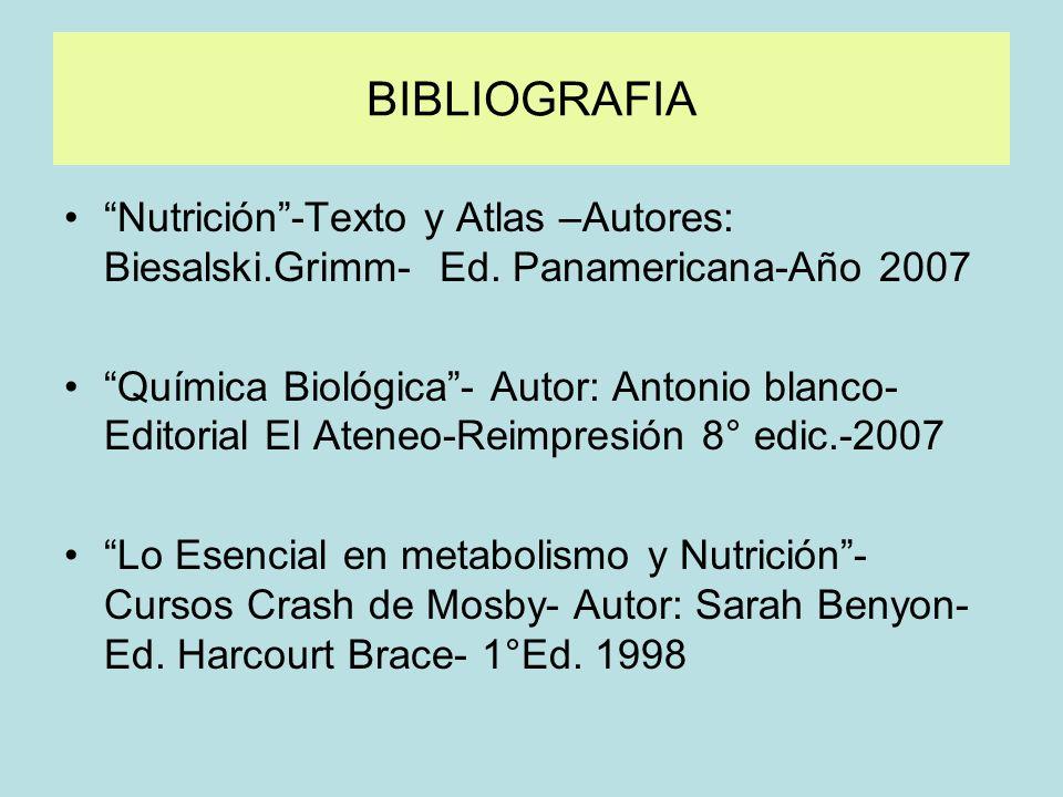 BIBLIOGRAFIA Nutrición -Texto y Atlas –Autores: Biesalski.Grimm- Ed. Panamericana-Año 2007.