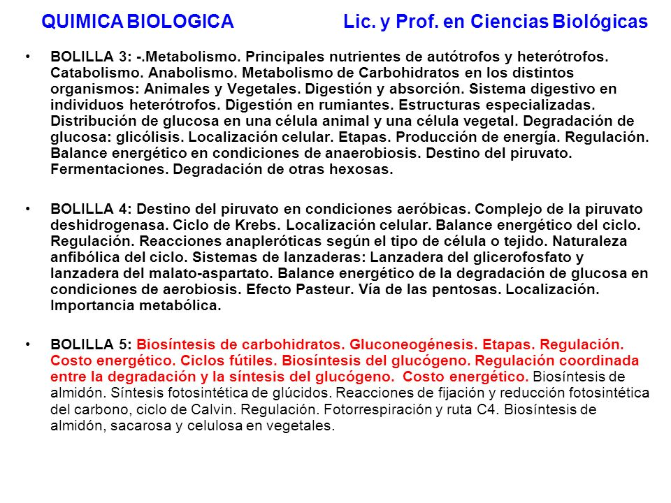 QUIMICA BIOLOGICA Lic. y Prof. en Ciencias Biológicas