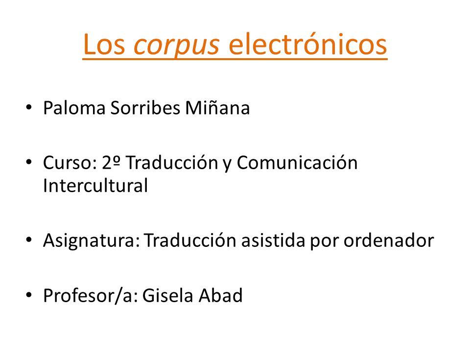 Los corpus electrónicos