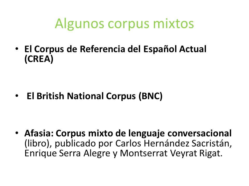Algunos corpus mixtos El Corpus de Referencia del Español Actual (CREA) El British National Corpus (BNC)