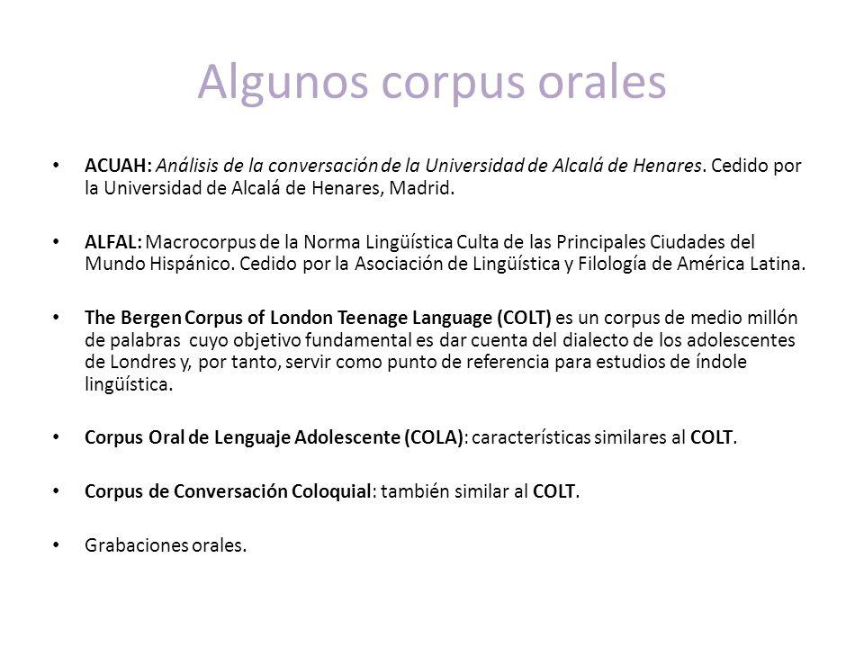Algunos corpus orales