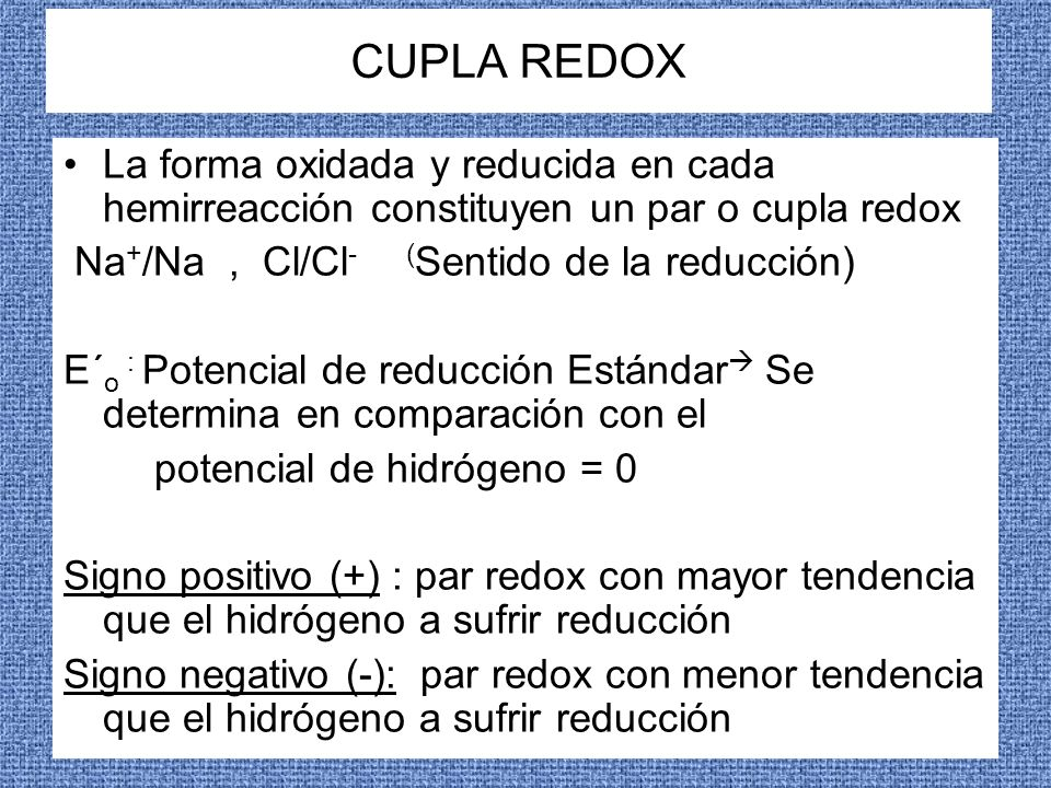 CUPLA REDOXLa forma oxidada y reducida en cada hemirreacción constituyen un par o cupla redox. Na+/Na , Cl/Cl- (Sentido de la reducción)